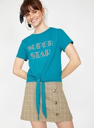 Koton Koton Baskılı Pastel Mavi T-Shirt Yeşil